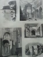 Antique Print C1860's Holyrood Chapel Stewkley Church Oxford Cathedral Engraving