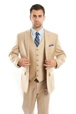 Men's Tailored Fit Suit Two Button Textured Three Piece Jacket Business Suits