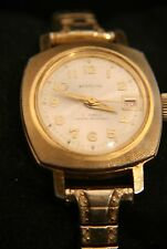 Very rare ladies' vintage Westclox 17 jewel manual wind calendar gold wristwatch