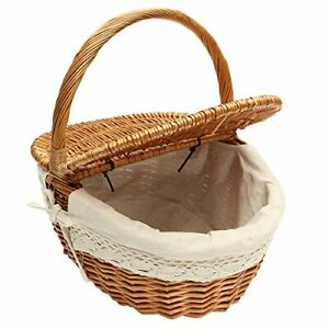 Wicker Basket Picnic Baskets Woven Willow Basket with Lid and Handle