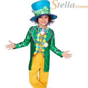Boys Mad Hatter Fancy Dress Costume Book Day Child Alice in Wonderland Outfit