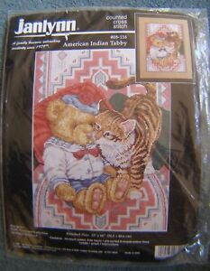 """JANLYNN COUNTED CROSS STITCH KIT AMERICAN INDIAN TABBY 12""""x 16"""" NEW IN PACK"""