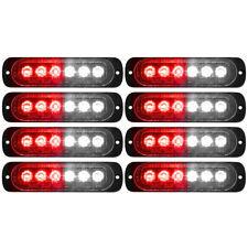 8x Car Truck Red White 6LED Strobe Emergency Flashing Warning Light Bar 12-24V