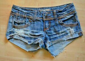 Charlette Russe Cut Off Denim Shorts Sz 2 Destroyed Low Rise Worn