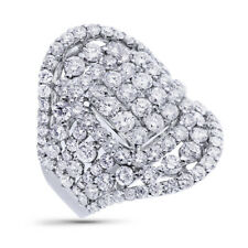 4.52Ct Round Cut Right Hand Womens 18K White Gold Wide Diamond Cocktail Ring