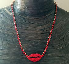 Butler y Wilson Cristal Rojo Esmalte Labial círculos Collar Nuevo