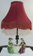Antique Lamp With Victorian Figurines Having Tea and Cookies Shade Included