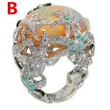 Turkish Vintage Jewelry 18K Black Gold Multi-Color Gemstone Ring Wedding Sz 6-10