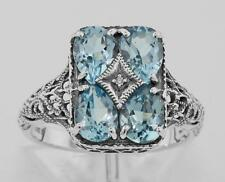 Art Deco Blue Topaz with Diamond Filigree Ring - Sterling Silver Size 7 Dazzler!