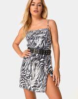 MOTEL ROCKS Datista Slip Dress in Trippy Zebra Clear Sequin Large L   (MR11)