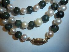 14K Gold Cultured 7mm Pearl & 8mm Green Jade Necklace Choker Vintage Unused