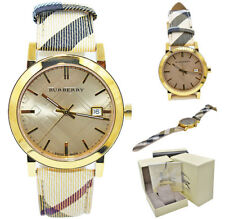 Burberry Watch Women Bu9026 The City Champagne Dial Haymarket Check Strap