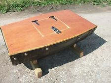 Varnished Recycled Half Wooden Whisky Barrel Coffee Table