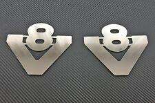 2 Stück Edelstahl poliert Metall V8 Abzeichen Zeichen Chrom Zubehör für SCANIA