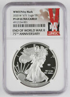 """2020 W End of WWII 75th Anniversary American 1 Oz Silver Eagle """"V75"""" NGC PF69 UC"""