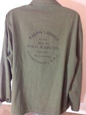 Men's XL Ralph Lauren Polo Jeans Heavy Green Canvas Long Sleeve Button Shirt 5th