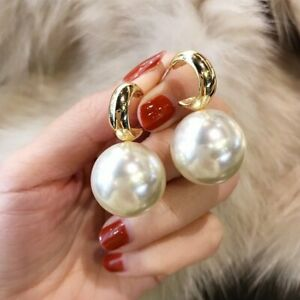 2020 Fashion Gold Large Pearl Earrings Drop Dangle Ear Stud Woman Jewelry Gifts