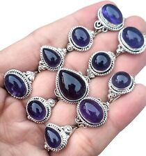 20 PCs. Wholesale Lot Handmade Natural Amethyst 925 Silver Plated Rings Jewelry,