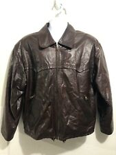 HENRY MADDOCK Made in Italy Vintage Brown Coat Sz 50 Men Poly/Leather