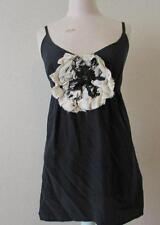 FIFTEEN TWENTY womens XS black white silk flower front tank top cami MINT