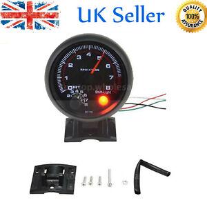 Universal Car Auto Tacho Rev Counter Gauge Tachometer + Red LED RPM Light UK NEW
