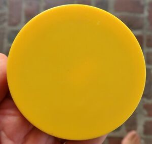 Vintage Round YELLOW LUCITE Pocket MIRROR, Plastic - 1970's, 1980's MOD Compact