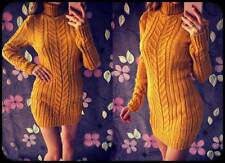 Womens Chunky Knitted Jumper Dress Sweater Turtle Neck Long Sleeve Pullover Tops