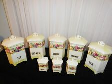 "Antique ""Luise"" Czech Lusterware Porcelain Canister Set  16 Piece  w/Trademark"