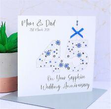 Personalised 45th Sapphire Wedding Anniversary Card Handmade