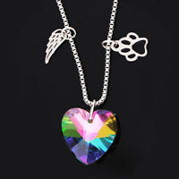 Womens Rainbow Crystal Paw Angel Wing Heart Necklace Pet Pendant Gift Jewelry