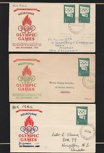 3x Australian First Day Covers 1955 Olympics 2s Green by Southern Cross Printers