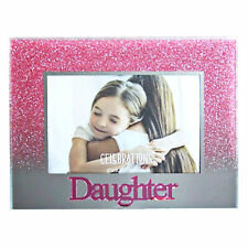 Glass 5'x3.5' Photo Frame with Glitter and Mirror Letters - Daughter