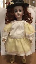 Ooak Yellow & White Dress & Green Hat for Bleuette Doll by Bluebird Textiles