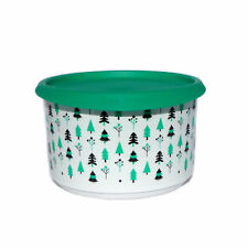 Tupperware NEW Small Christmas Canister  One Touch Trees Round