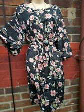 Ladies size 18 winter dark floral tunic smock dress boho 3/4 sleeve belt