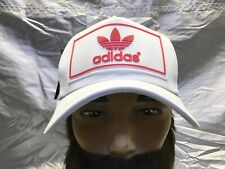 adidas Originals Trefoil Strapback Baseball Cap Hat Lid Brim Dad White w/Red