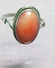 Vintage 800 silver oval shape natural red coral delicate ring size 6
