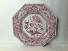 """Spode Archive Sutherland Collection Floral 9.5"""" Red Octagonal Cabinet Plate"""