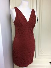 Topshop Burnt Orange Red Brown Lace Sleeveless Dress Mini Size 12