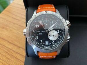 HAMILTON Men's Aviation ETO Chrono Quartz Watch Orange Leather Strap