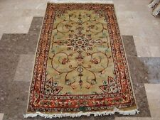WOW FLORAL MEDALION HAND KNOTTED RUG WOOL SILK CARPET 5x3 FB-2523