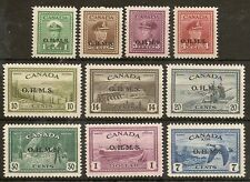 CANADA OFFICIALS 1949 KGVI PEACE OHMS OVPTS SG0162/71 MNH