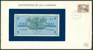 BANKNOTES OF ALL NATIONS FINLAND 5 Markkaa 1980 UNC with Stamp on envelope