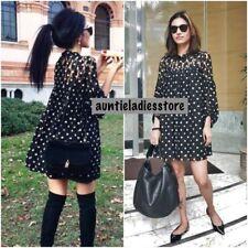 Zara Black Polka Dot Lace Flowing Short Dress Size S