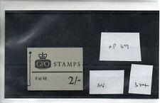 GB - Stamp Booklet - (344)  2/-d Booklet - NP39 - Average  perfs