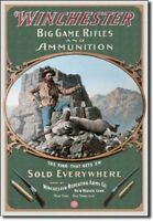 Winchester Rifles Ammunition Guns Big Game Ammo Hunting Rustic Tin Metal Sign