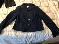 NEW WOMENS LIZ & CO NAVY BLUE LACE BUTTON FRONT LIGHT JACKET SIZE LARGE