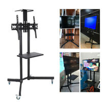 Adjustable TV Cart Mobile Free-Standing Stand with Tray Shelf for LCD LED Plasma