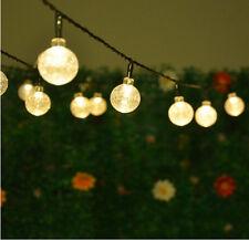 30 LED bianco caldo sfera di cristallo GLOBI Luce SOLARE Stringa All'aperto Patio UK