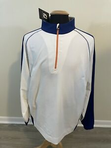 NEW NWT FootJoy Golf Sport Half Zip Pullover Mens Size XL White / Blue